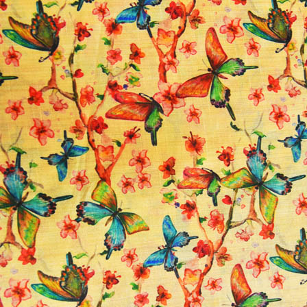 Blue and Pink Butterfly Digital Print On Beige Silk Fabric-24016