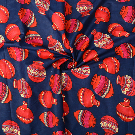 Blue and Pink Cotton Jam Silk Fabric-75098
