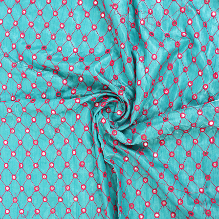 Blue and Pink Embroidery Silk Fabric-RAH60456