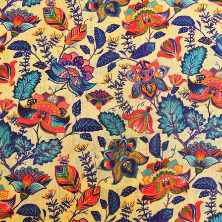 Blue and Pink Floral Digital Print On Beige Silk Fabric-24013