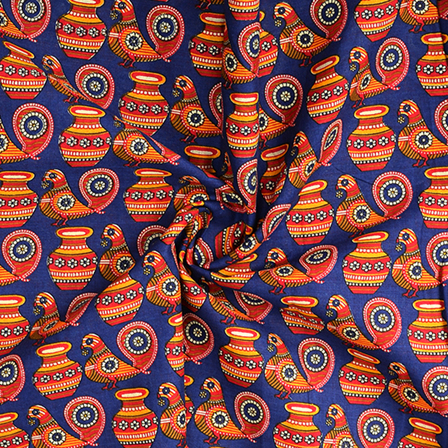 Blue and Pink Kalamkari Cotton Fabric-10084