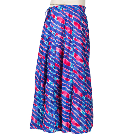 Blue and Pink Lehariya Design  Block Print Cotton Long Skirt-23065