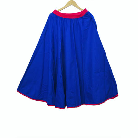 Blue and Pink Plain Satin Skirt-23035