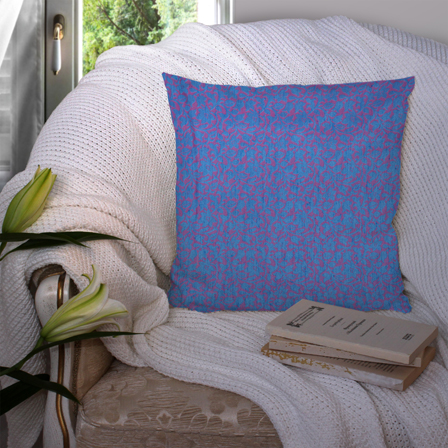 Blue and Purple Silk Cushion Cover-35051