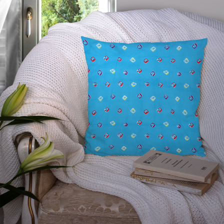 Blue and Red Cotton Cushion Cover-35044