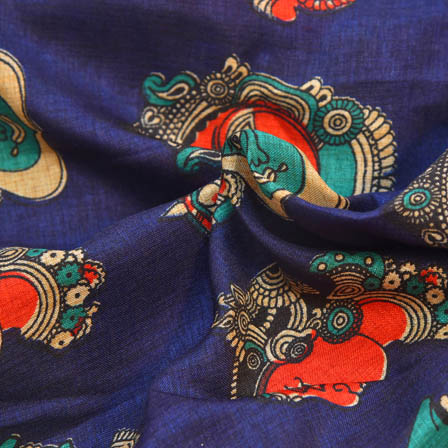 Blue and Red Durga Devi Pattern Kalamkari Manipuri Silk-16020