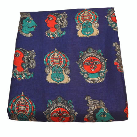 Blue and Red Durga Devi Pattern Kalamkari Manipuri Silk-16020