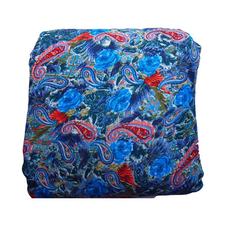 Blue and Red Paisley Pattern Kalamkari Manipuri Silk-16099