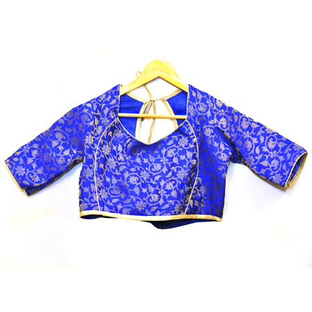 Blue and Silver Floral Silk Brocade Blouse-30091