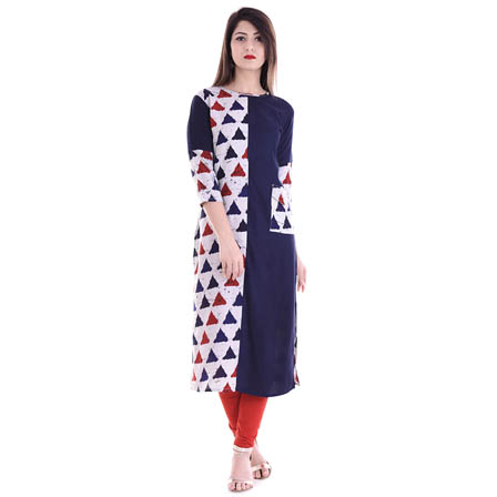 Blue and White 3/4 Sleeve Half Printed Rayon Kurti-3091