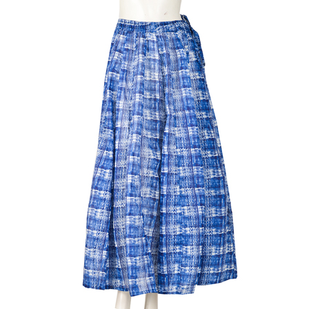 Blue and White Block Print Cotton Long Skirt-23053
