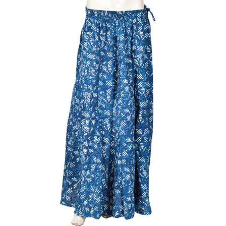 Blue and White Block Print Cotton Long Skirt-23089