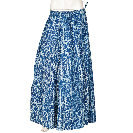 Blue and White  Block Print Cotton Long Skirt-23094