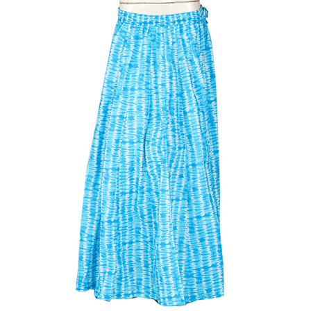 Blue and White Block Print Cotton Long Skirt-23104