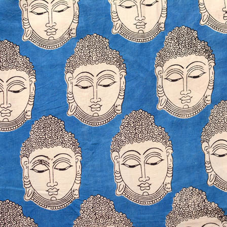 Blue and White Buddha Pattern Cotton Kalamkari Fabric 4549