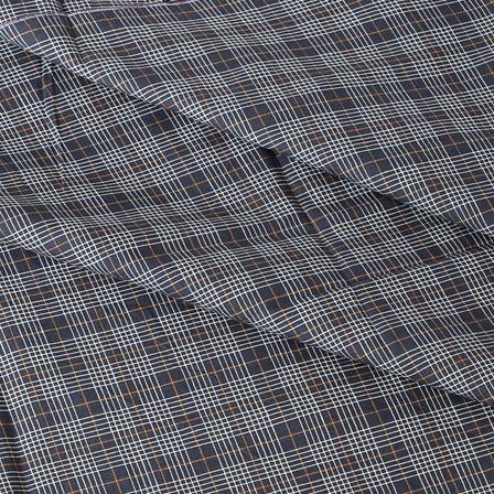 Blue and White Checks Design Cotton Handloom Khadi Fabric-40178
