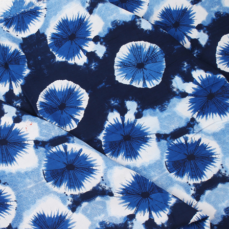 Blue and White Circular Design Block Print Rayon Fabric-15049