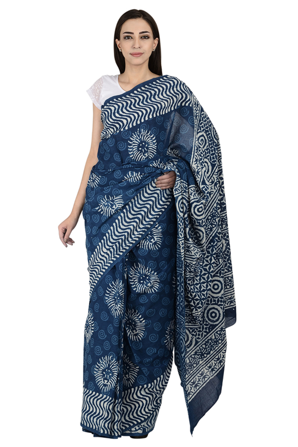 Blue and White Circular Design Cotton Block Print Saree-20077
