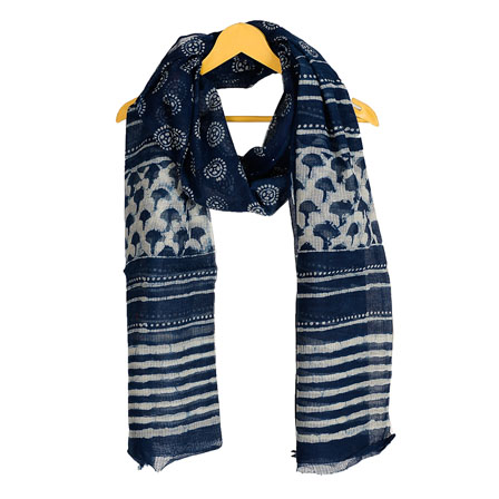 Blue and White Cotton Block Print Dupatta With Pom Pom-33088