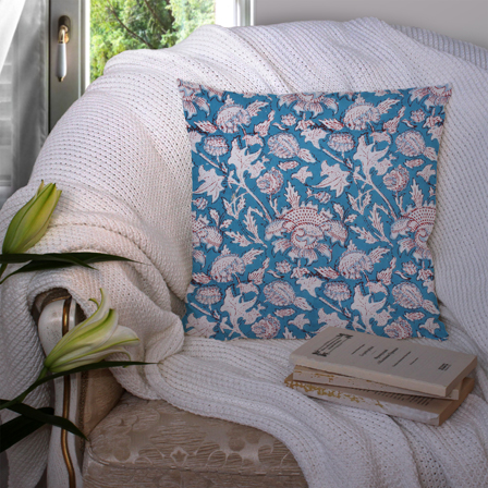 Blue and White Cotton Cushion Cover-35038