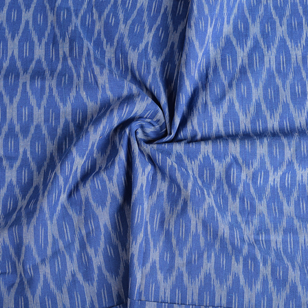 Blue and White Cotton Ikat Fabric-12160