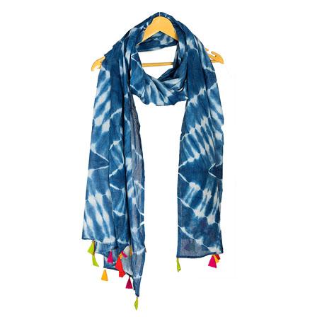 Blue and White Cotton Indigo Block Print Dupatta With Multicolored Pom Pom-33055