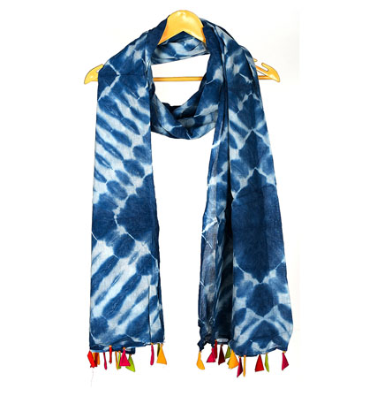 Blue and White Cotton Indigo Block Print Dupatta With Multicolored Pom Pom-33092