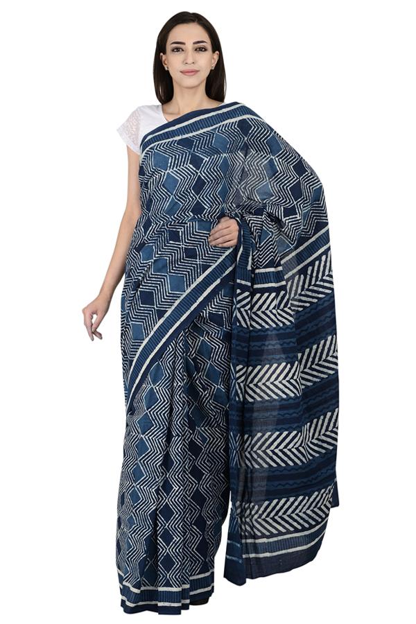 Blue and White Cotton Indigo Block Print Saree-20078