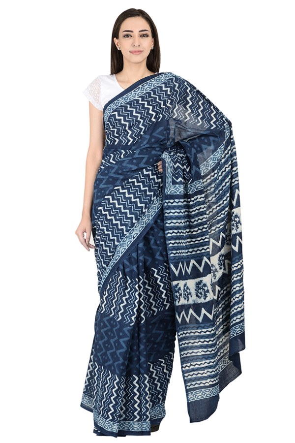 Blue and White Cotton Indigo Block Print Saree-20087