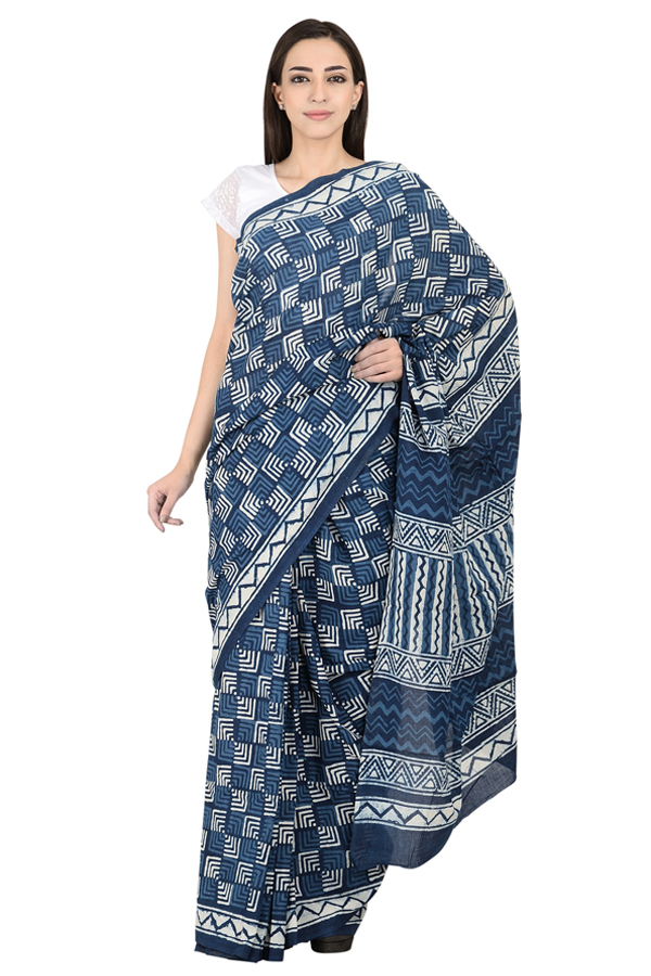 Blue and White Cotton Indigo Print Saree-20083