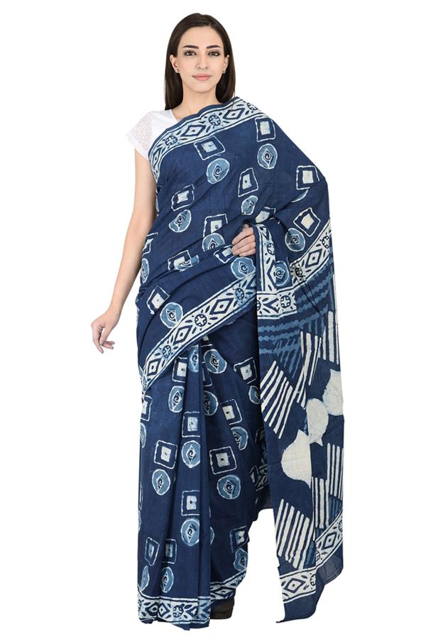 Blue and White Cotton Indigo Print Saree-20084