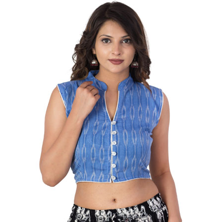 Blue and White Cut Sleeveless Cotton Ikat Blouse-30210