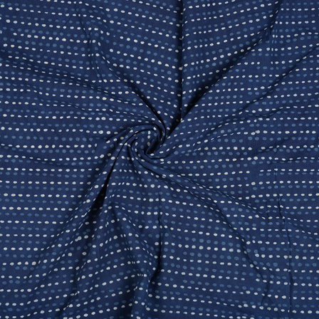 Blue and White Dotted Design Indigo Cotton Block Print Fabric-14475