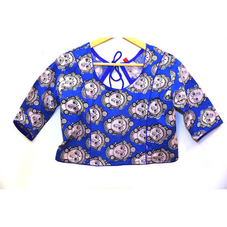 Blue and White Durga Devi Kalamkari Print Cotton Blouse-30012