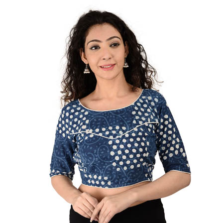 Blue and White Elbow Sleeve Cotton Indigo Blouse-30155