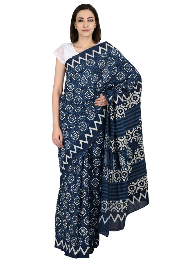 Blue and White Floral Design  Cotton Block Print Saree-20067