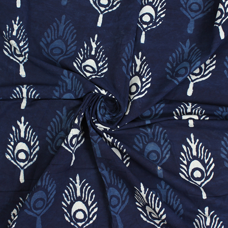 Blue and White Floral Indigo Block Print Cotton Fabric-14572