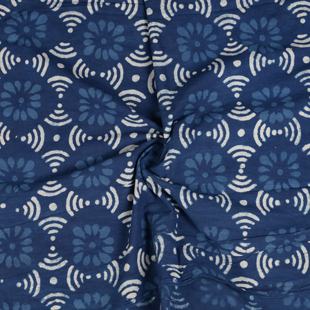 Blue and White Floral Pattern Indigo Cotton Block Print Fabric-14467