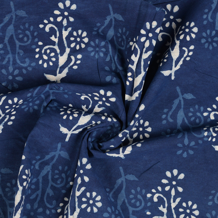 Blue and White Floral Pattern Indigo Cotton Block Print Fabric-14482