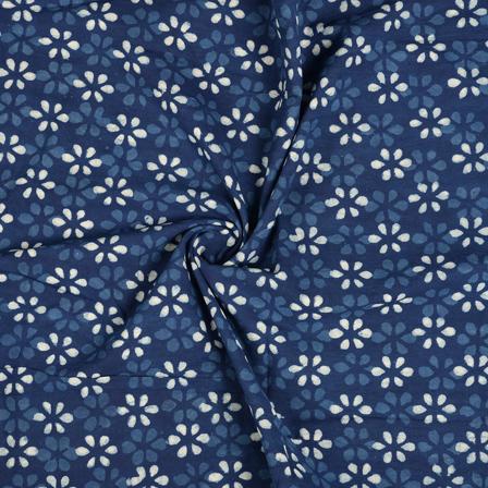 Blue and White Flower Design Indigo Cotton Block Print Fabric-14489