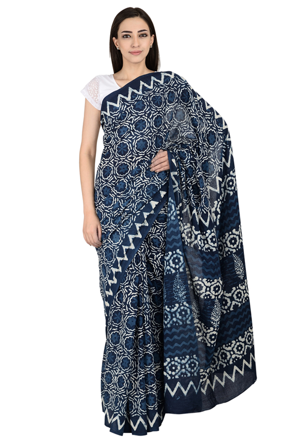 Blue and White Flower Pattern Cotton Block Print Saree-20068