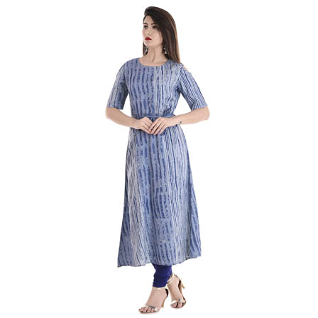 Blue and White Half Sleeve Cold Shoulder Rayon Kurti-3084