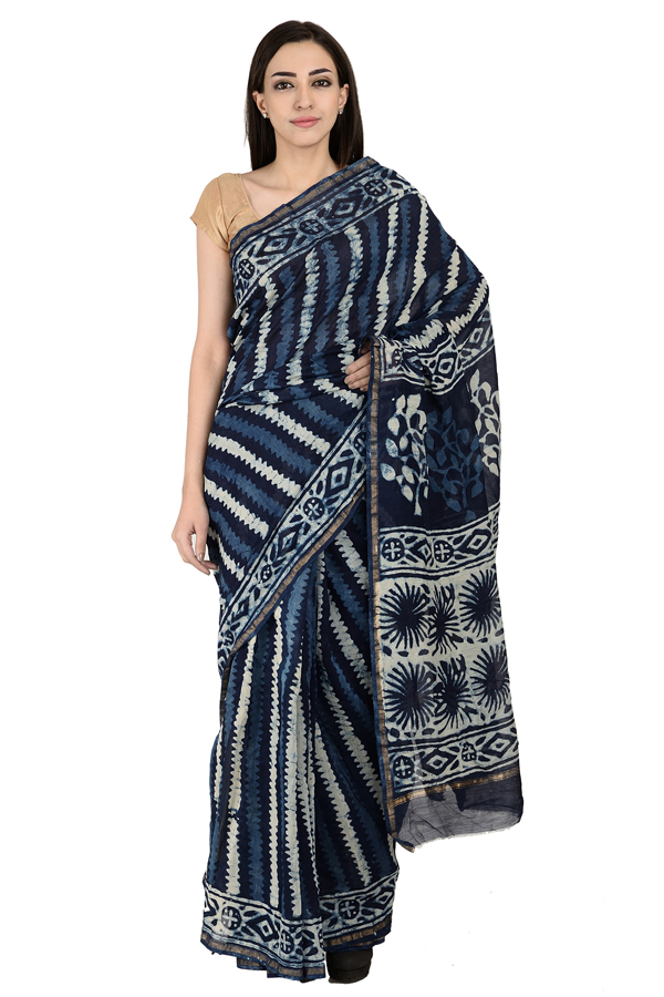 Blue and White Handblock Indigo Print Chanderi Saree-20147