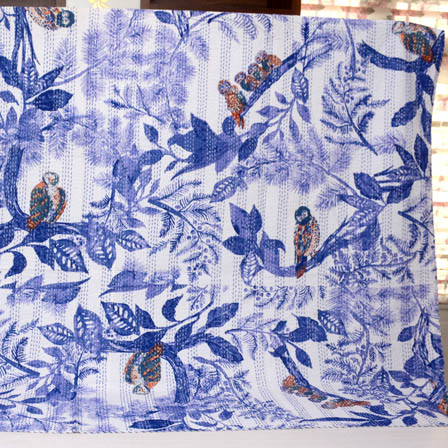 Blue and White Handmade Birds Pattern Kantha Quilt-4359