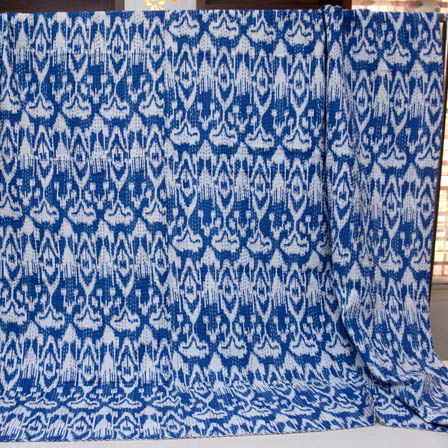 Blue and White Handmade Indigo Kantha Quilt-4363