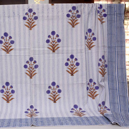 Blue and White Handmade Tree Pattern Kantha Quilt-4354