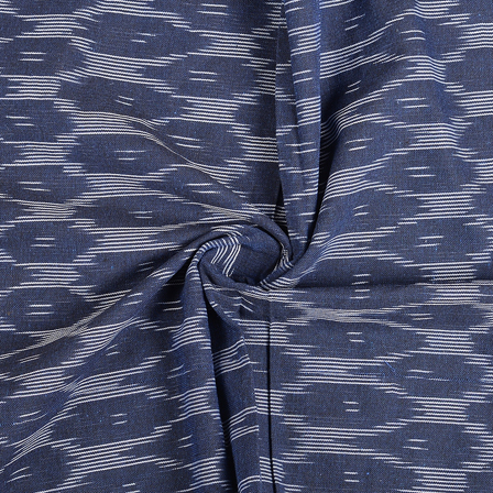 Blue and White Ikat Cotton Fabric-12147