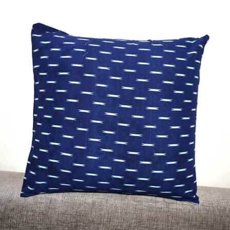 Blue and White Ikat Pattern Cotton Cushion Cover