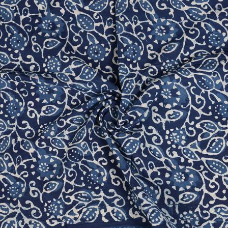 Blue and White Indigo Cotton Block Print Fabric-14471