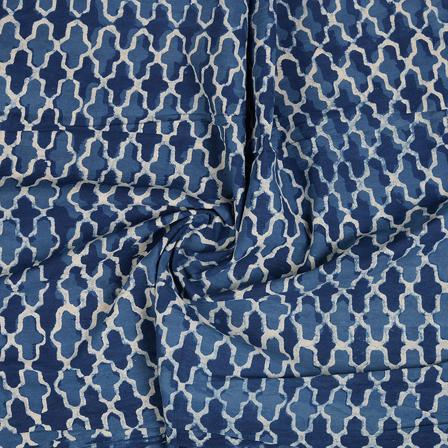 Blue and White Indigo Cotton Block Print Fabric-14484